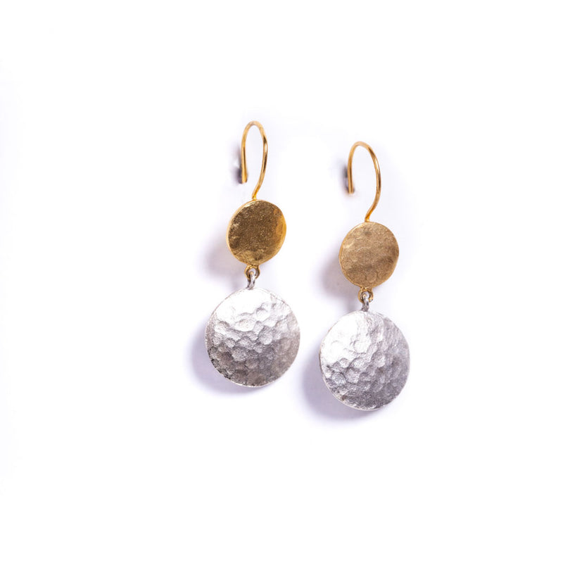 Earrings - Antika - Geo 2 Circle Mixed Metal