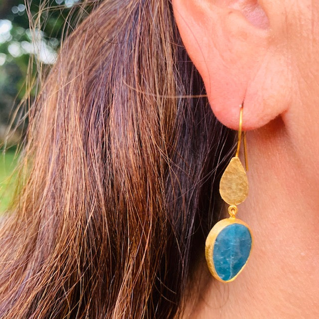 Earrings - Antika - Gold and Stone Blue Quartz