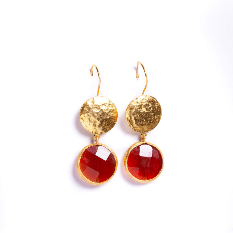 Earrings - Antika - One Gold & One Stone Red Agate