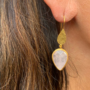 Earrings - Antika - Gold and Stone Rose Quartz