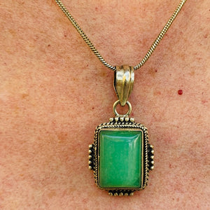 Necklace - Silver - Green Aventurine Pendant