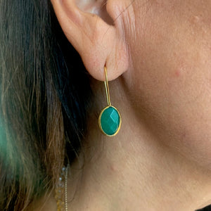 Earrings - Antika - Single Stone Small Jade Stone **available in oval & teardrop shapes
