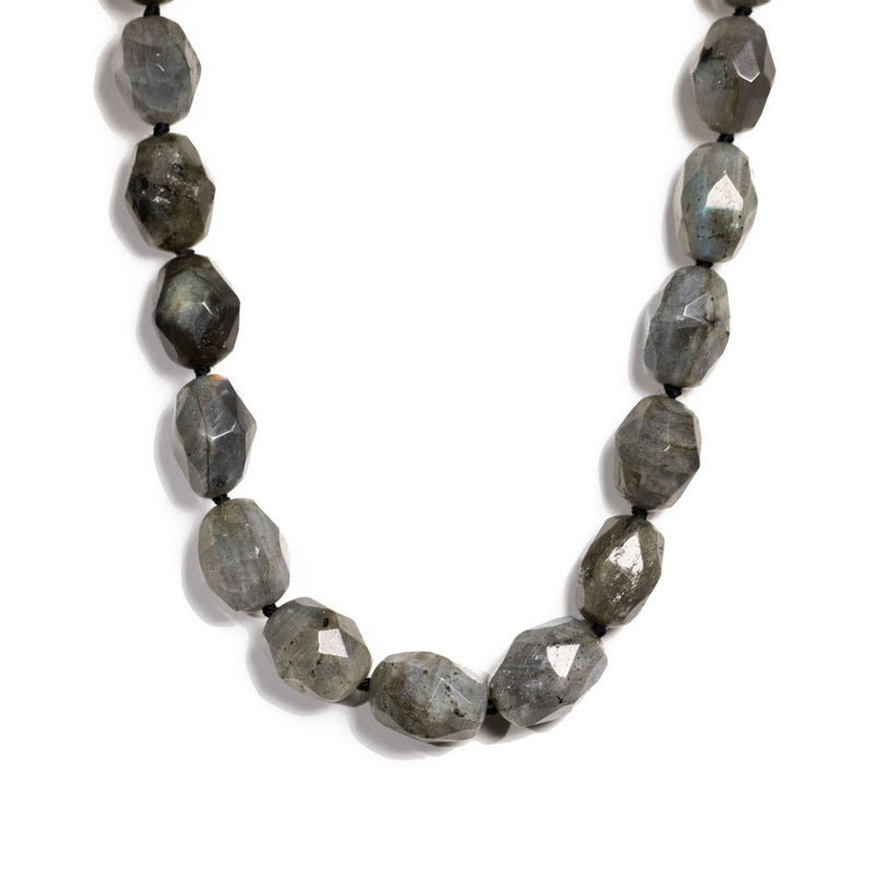 Antika -Necklace - Labradorite Crystal Cut Large Bead
