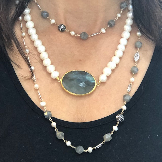 Necklace - Antika - Labradorite and Pearl