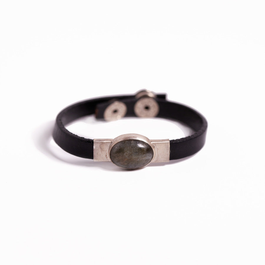 Bracelet - Silver - Labradorite Leather