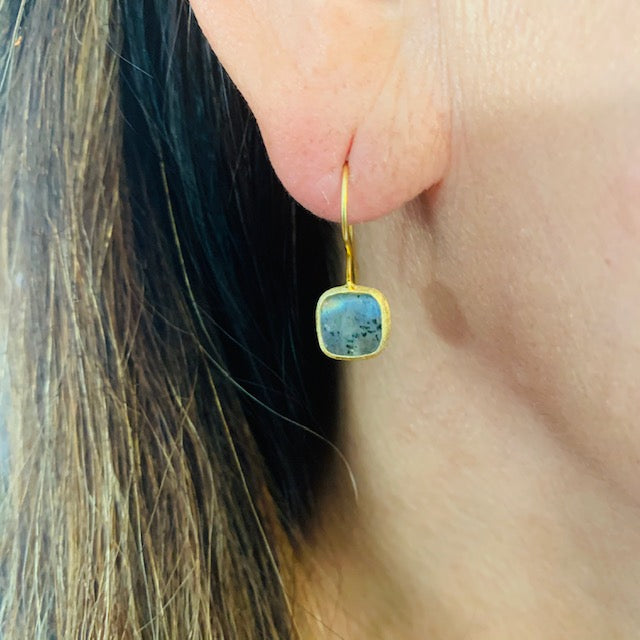 Earrings - Antika - Single Stone Extra Small Labradorite Stone