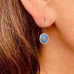 Earrings - Antika - Single Stone Small Lapis Stone in Silver