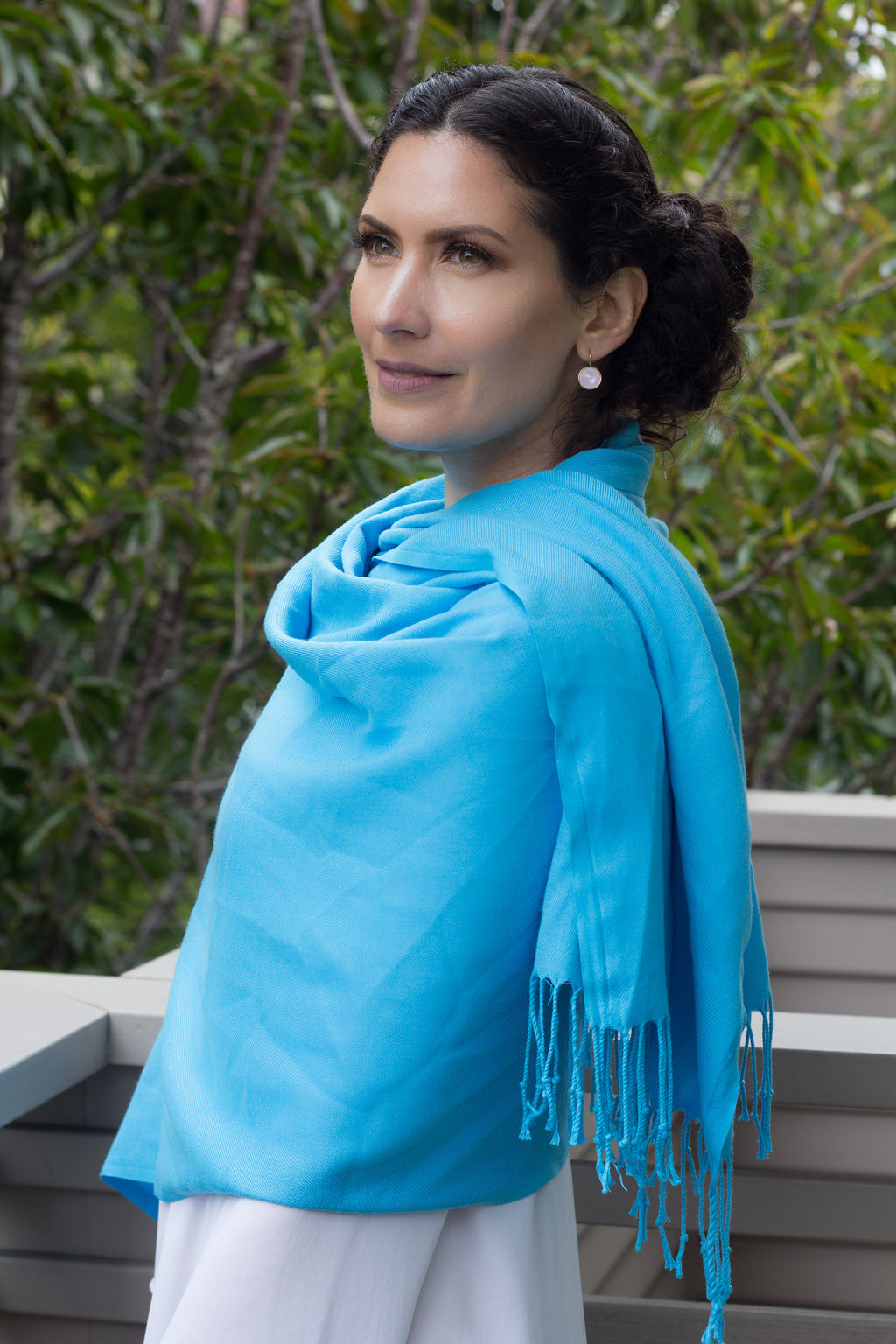 Scarf - Pashmina - Solid Colored Light Blue - Beksan Designs
