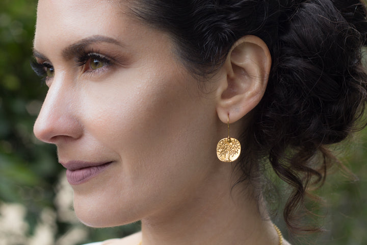 Earrings - Antika - Geo Tree of Life 24kt Gold Vermeil