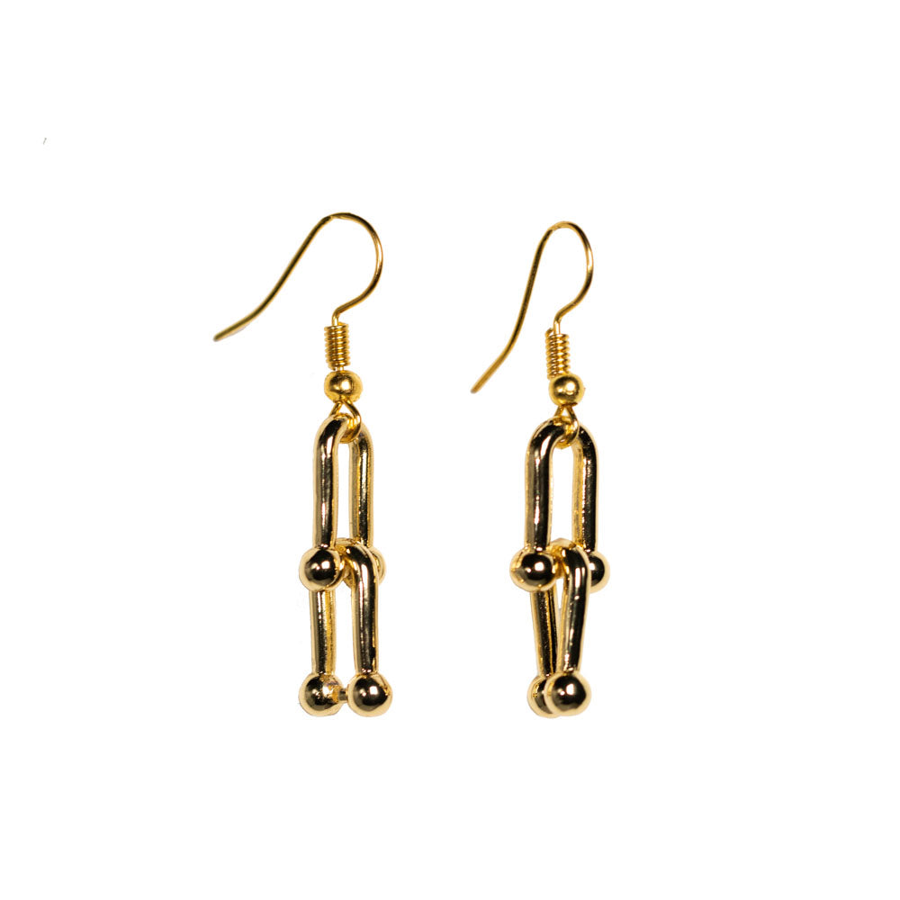 Earrings - Antika - 2 Link Chain 24k Gold Vermeil Dangle
