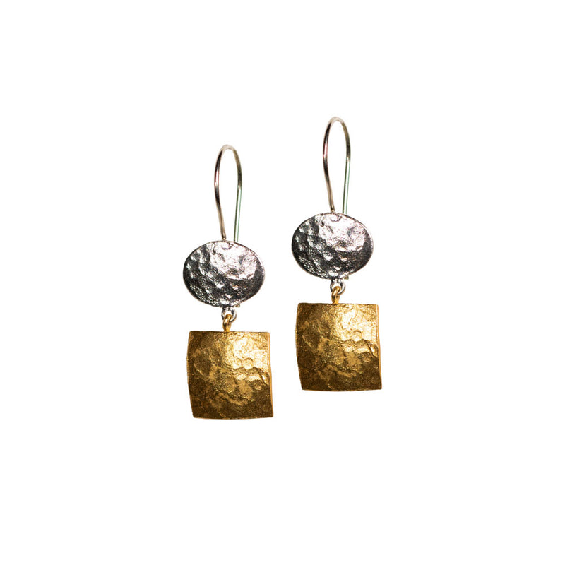 Earrings - Antika - Geo Oval Square Mixed Metal
