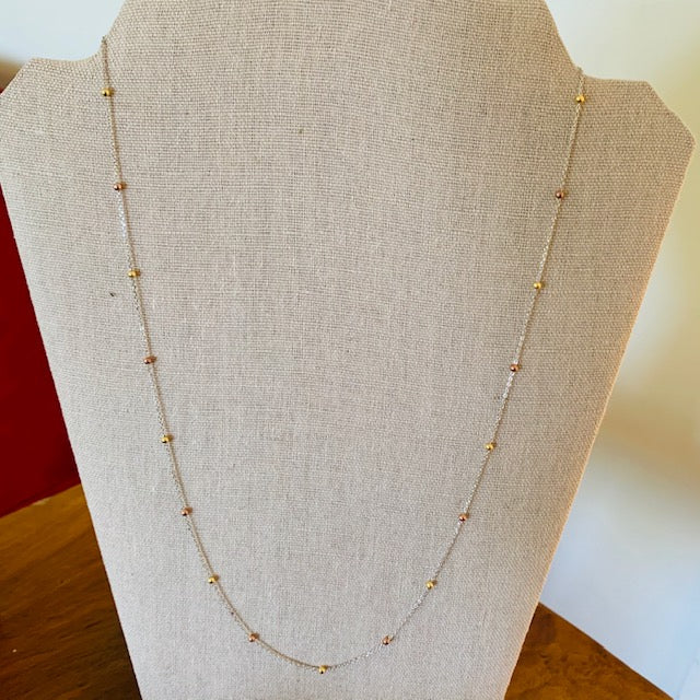 Necklace - Silver - Mixed Metal Small Beads Chain