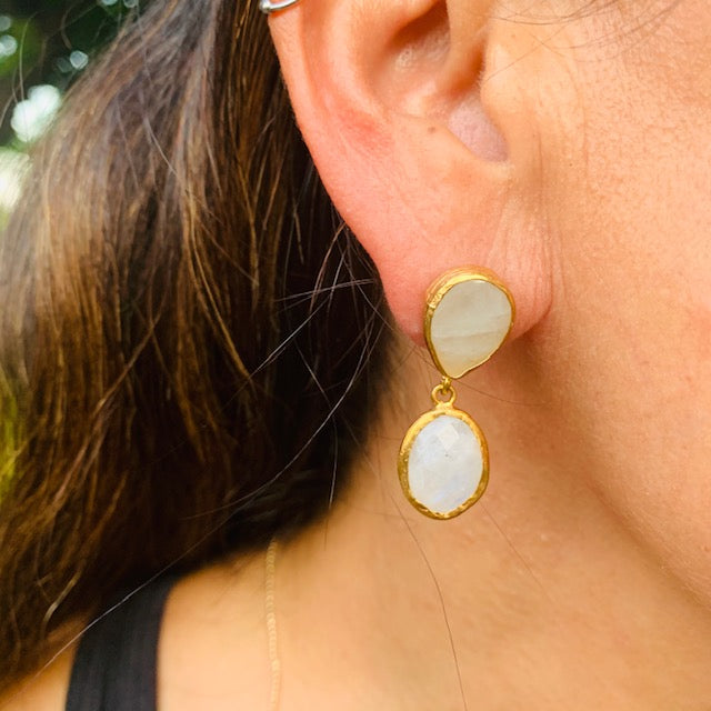 Earrings - Antika - Double Moonstone