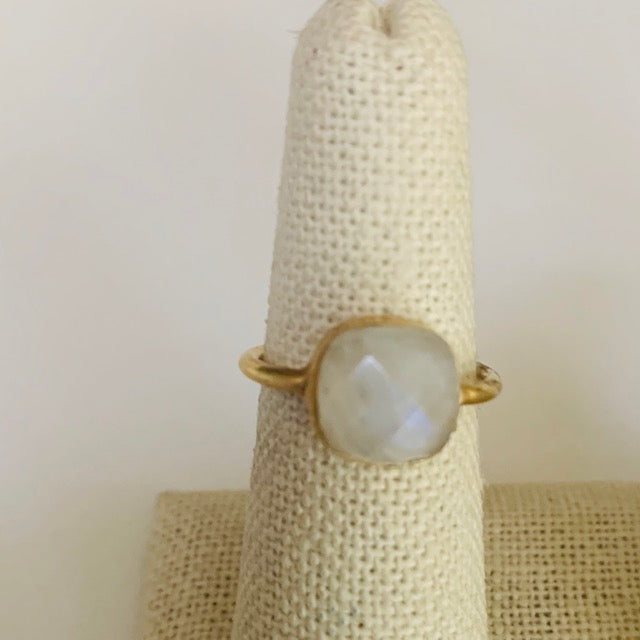 Ring - Silver - Small Stone Moonstone Set in 24k gold vermeil