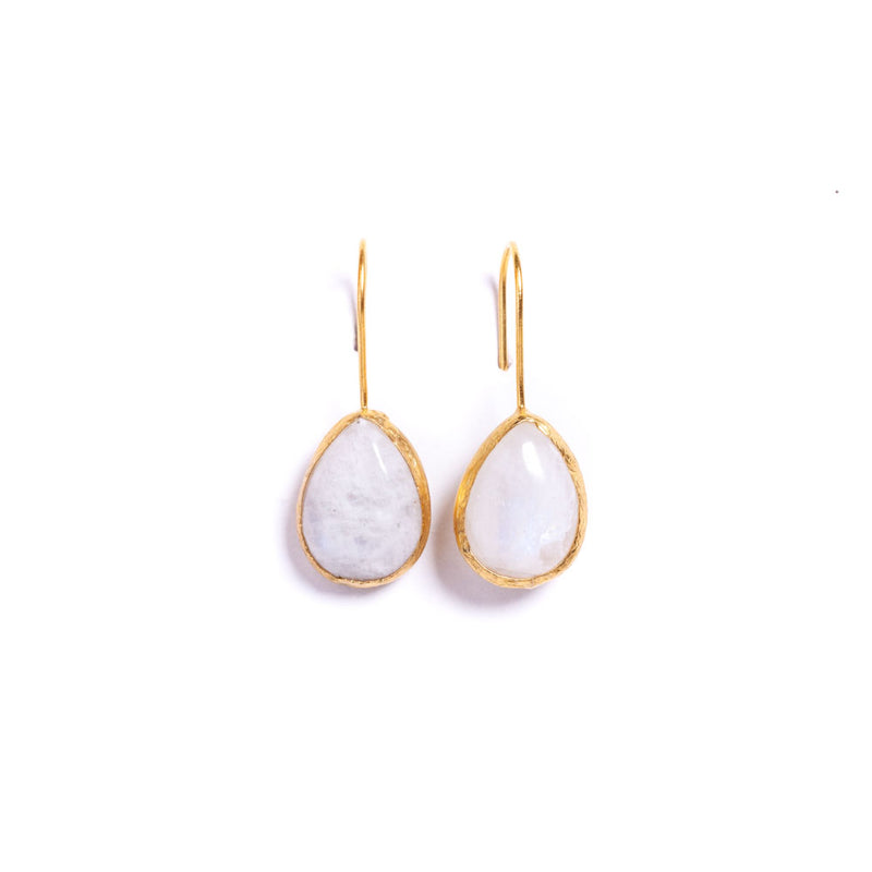 Earrings - Antika - Single Stone Medium Moonstone