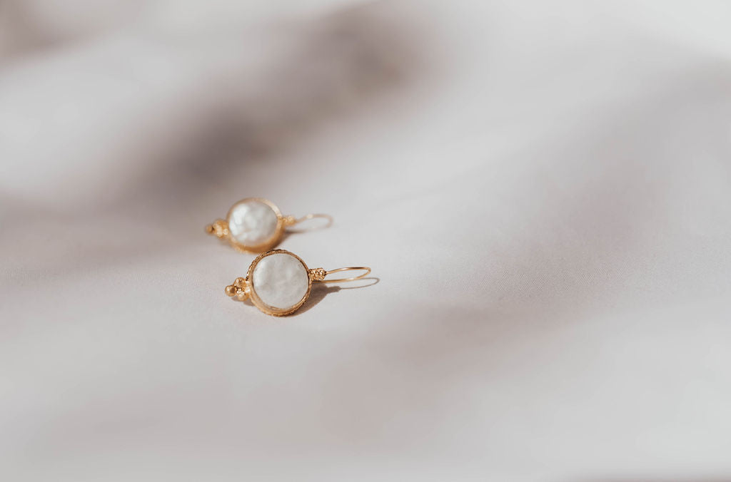 Earrings - Antika - Single Stone Medium Mother of Pearl Stone