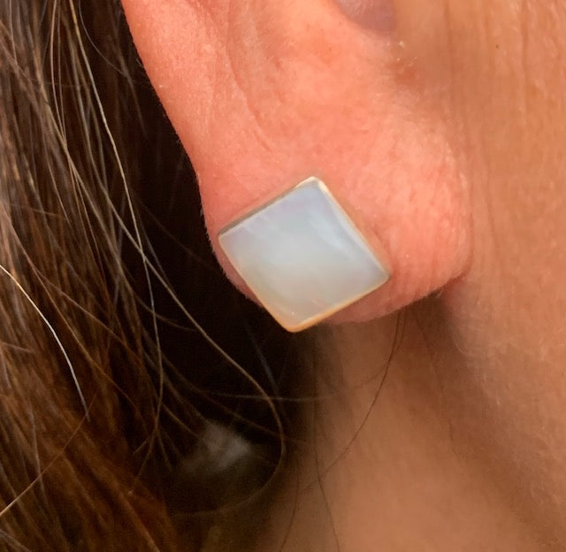 Earrings - Antika - Single Stone Mother of Pearl Post