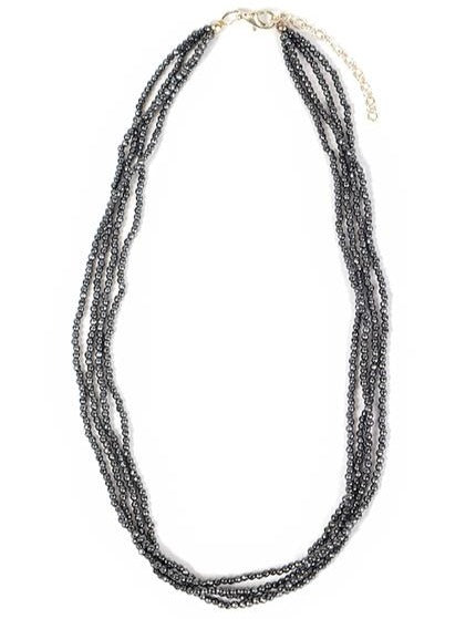 Necklace - Crystal - Dark Grey Small Bead Multi-Strand