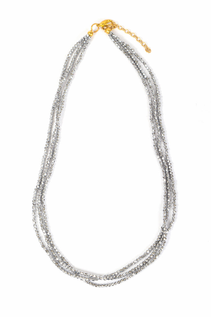 Necklace - Crystal - Silver Small Bead Multi-Strand