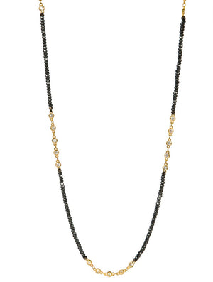 Necklace - Crystal Gold - Hematite Small Bead Long Necklace