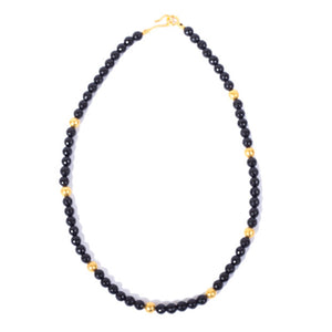 Necklace - Antika - Black Onyx & Gold Bead - Beksan Designs