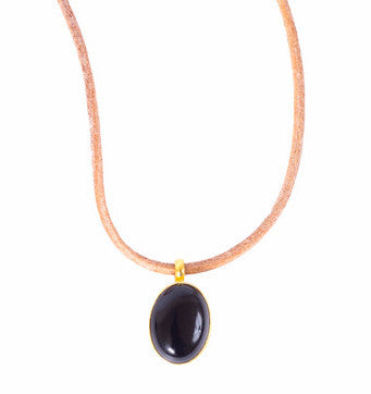 Necklace - Antika - Leather Black Onyx Stone