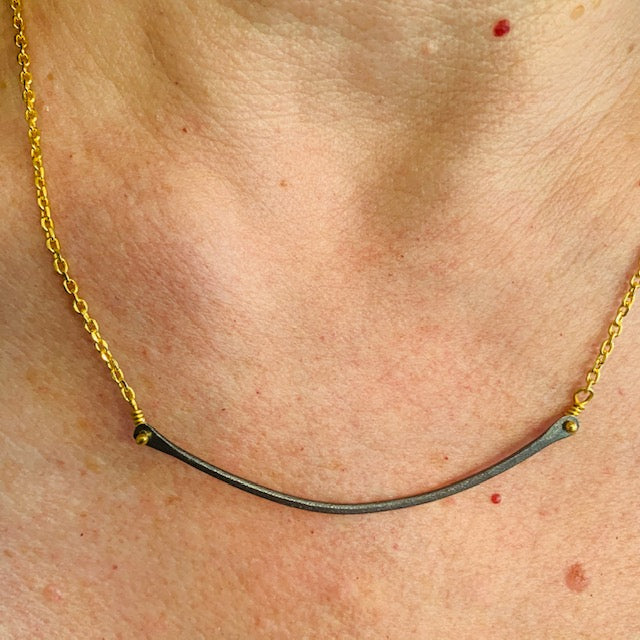 Necklace - Antika - Silver Bar and Gold Chain