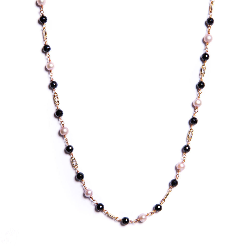 Necklace - Antika - Black Onyx, Small Crystal & Pearl Gemstone