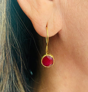 Earrings - Antika - Single Stone Small Red Quartz