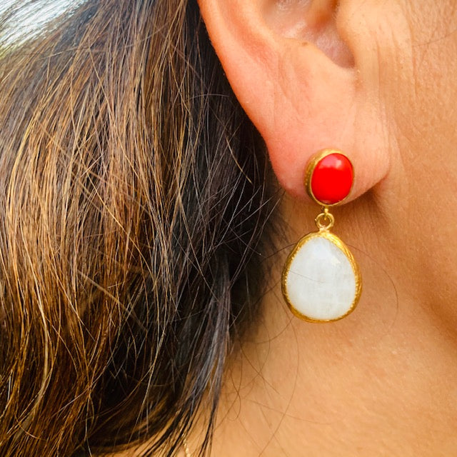 Earrings - Antika - Double Stone Red Agate & Moonstone Post