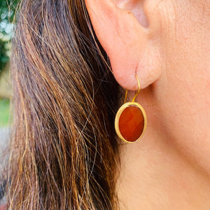 Earrings - Antika - Single Stone Medium Red Agate