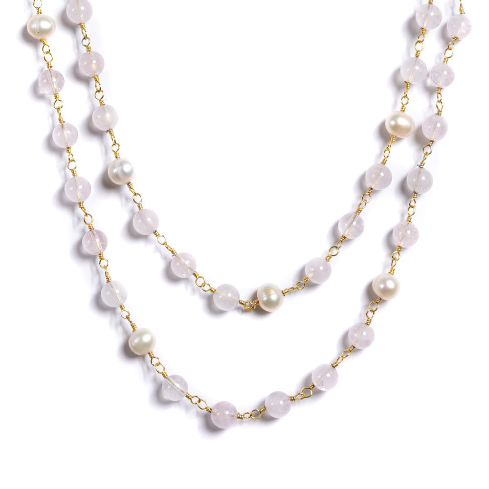 Necklace - Antika - Rose Quartz and Pearl Double Strand