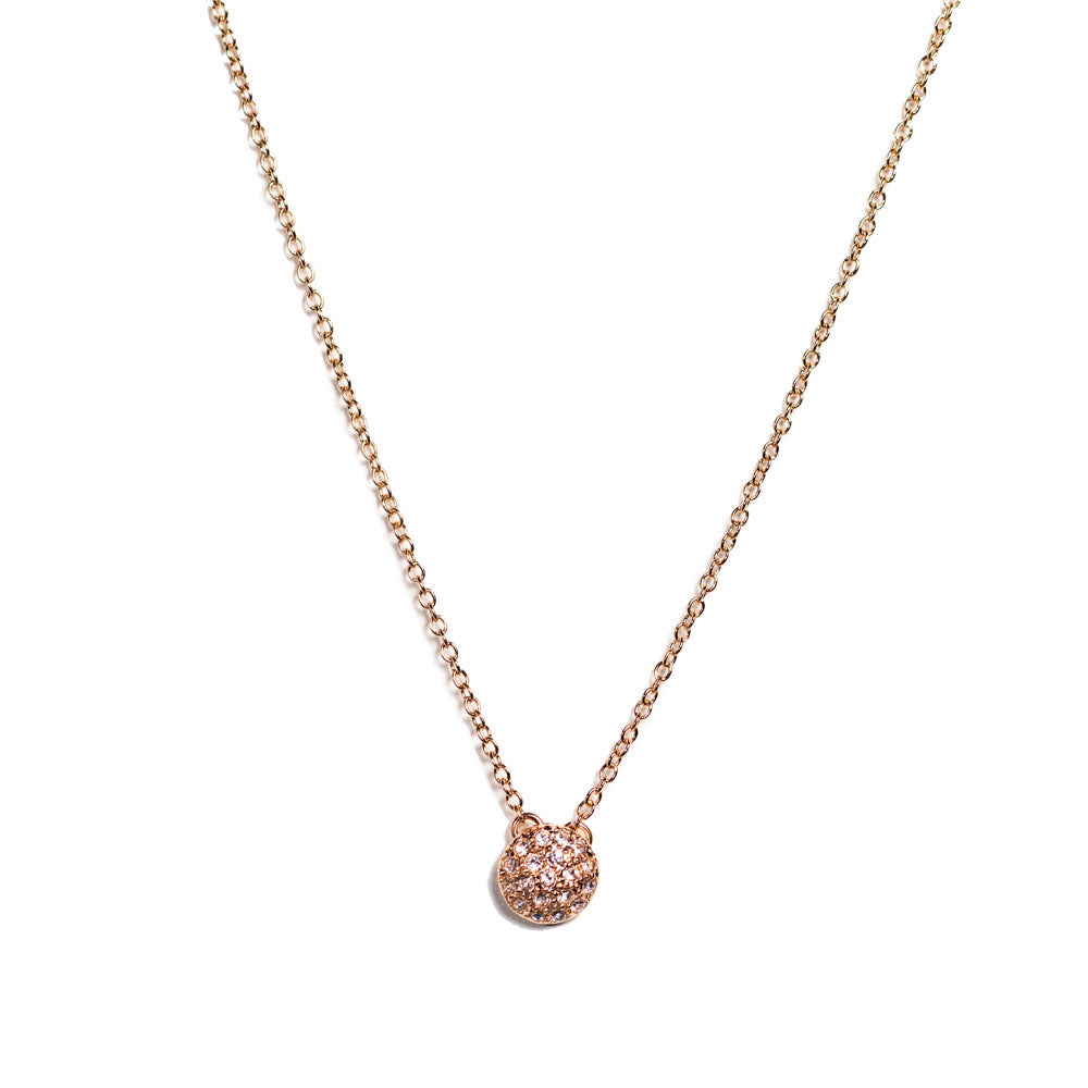 Necklace - Crystal - Pave Pendant Rose Gold Vermeil