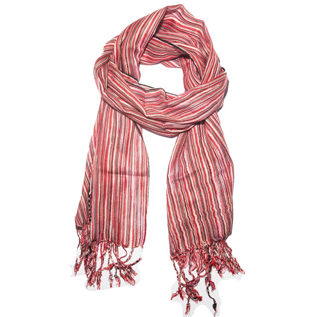 Scarf - Cotton - Red, Black, White
