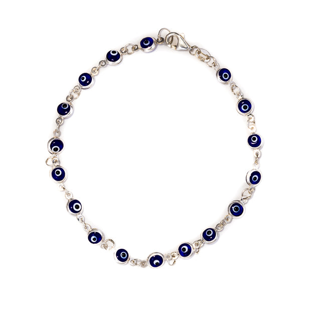 Bracelet - Silver -  Bracelet with Evil Eye Beads - Silver (dark blue and light blue)