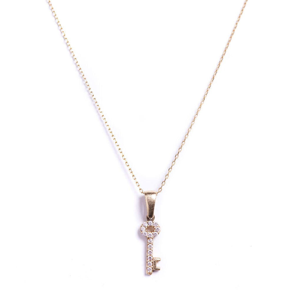 Necklace - White Sapphire Small Key Pendant