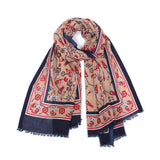 Scarf - Cotton - Flower Blue, Camel, & Red