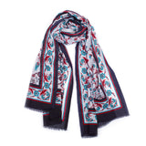 Scarf - Cotton - Flower Blue, White & Red