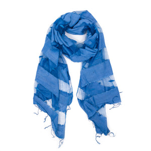 Scarf - Silk - Blue & Small Felt Decor - Beksan Designs