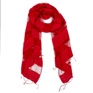Scarf - Silk - Red & Small Felt Decor - Beksan Designs
