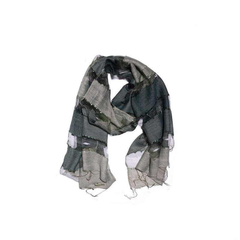 Scarf - Silk - Light Olive & Small Felt Decor