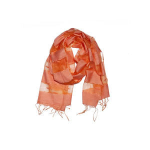 Scarf - Silk - Peach & Small Felt Decor