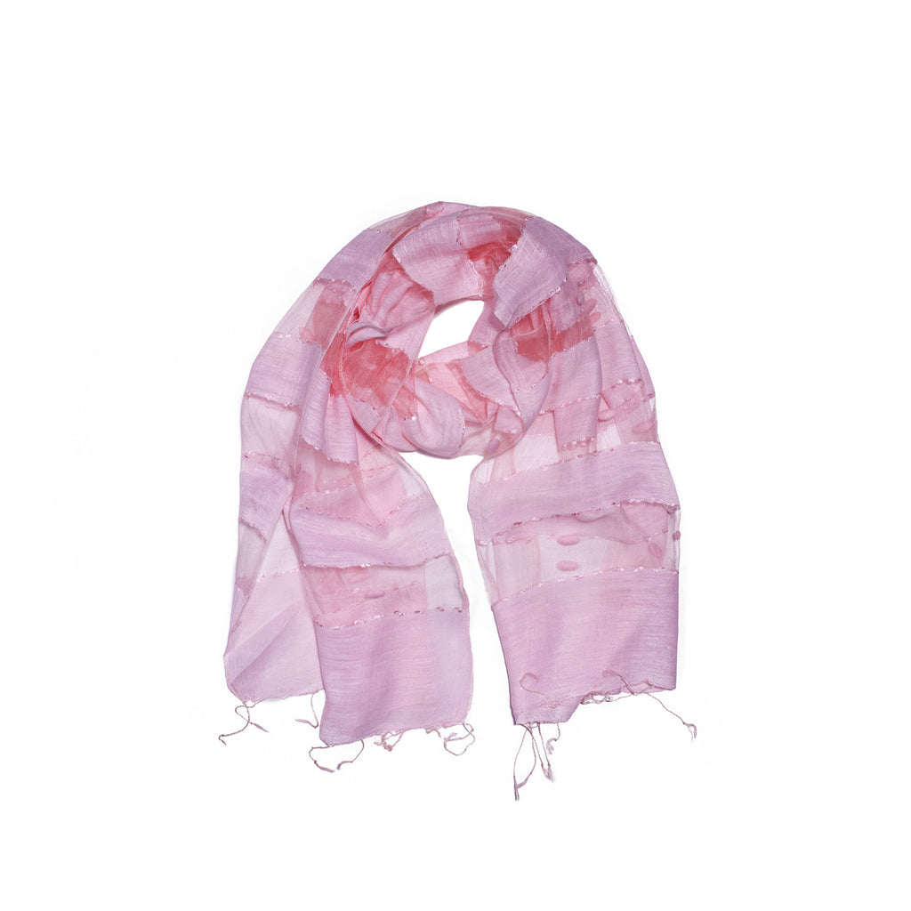 Scarf - Silk - Pink & Small Felt Decor