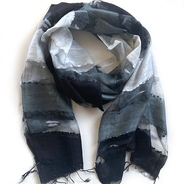 Scarf - Silk - Black, Grey, White & Small Felt Decor