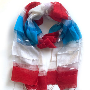Scarf - Silk - Red, White, Blue & Small Felt Decor