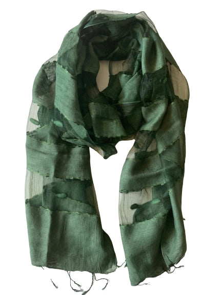 Scarf - Silk - Green & Small Felt Decor