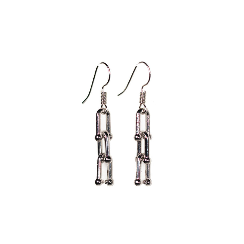 Earrings - Silver - 3 Link Chain Dangle