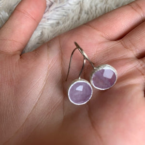 Earrings - Silver - Single Stone Small Amethyst Stone