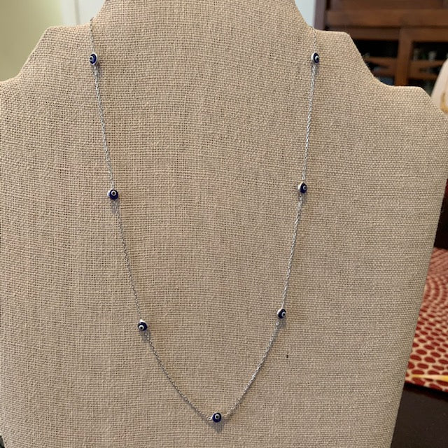 Necklace - Silver - Evil Eye Glass Dark Blue Beads
