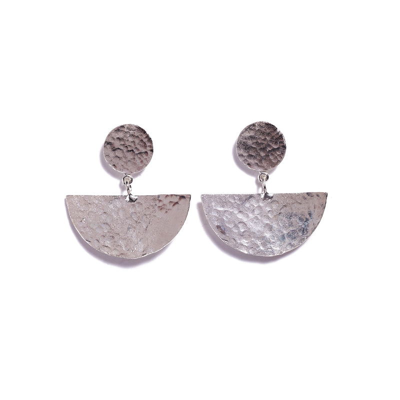 Earrings - Antika - Geo Silver Half Moon Post Stud
